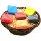Corbeille Osier garnie de 6 savons Gamme couleur